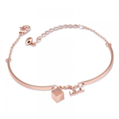 Ms Fashion Titanium Steel plating Rose Gold Geometric Box Pendant Bracelet rose gold one size