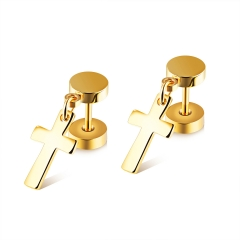 Black Titanium Steel Men Barbell Cross Earrings Sided Twisted Screw Dumbbells Earrings gold ms
