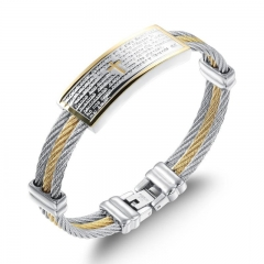 Men Titanium Steel Three Laps Wire Weaving hemp Rope Wristband  Gold-plated Cross The Bible Bracelet gold silver one size