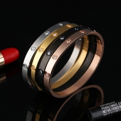 Valentine's Day Gift fashion Bracelet Stainless Steel Diamond Simple Couple Bracelet gold ms one size