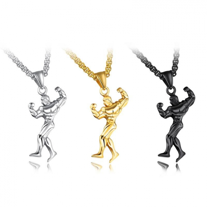 Western Style Fashion Bodybuilding Mr Necklace Men Personality Titanium Steel Pendant gold one size