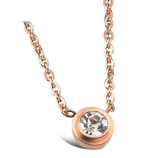 Fashion Single Drill Plated 18k Rose gold Clavicle Chain Ms Leisure Trend Necklace rose gold one size