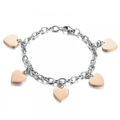 Rose gold Smooth Love Bracelet Titanium Steel Ms Student Fashion Bracelet gold one size