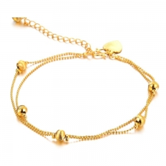 Western Style Fashion Retro Copper Plated 18K Gold Anklet Ms Leisure Student Anklet gold one size