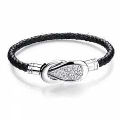 Men Retro Weave Leather ring Sky stars Diamond Rocking Western style Bracelet black one size