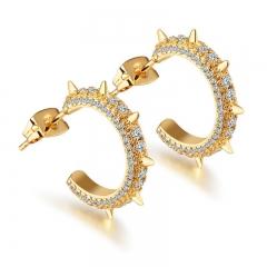 Fashion Creative Rivet Earrings Diamond Geometry Round Earring gold one size