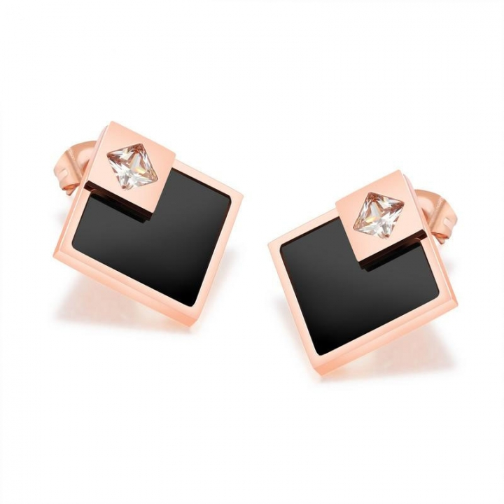 Western Style Temperament Geometry Graphics Square Earrings Wild Rhinestones Shiny Earring gold one size