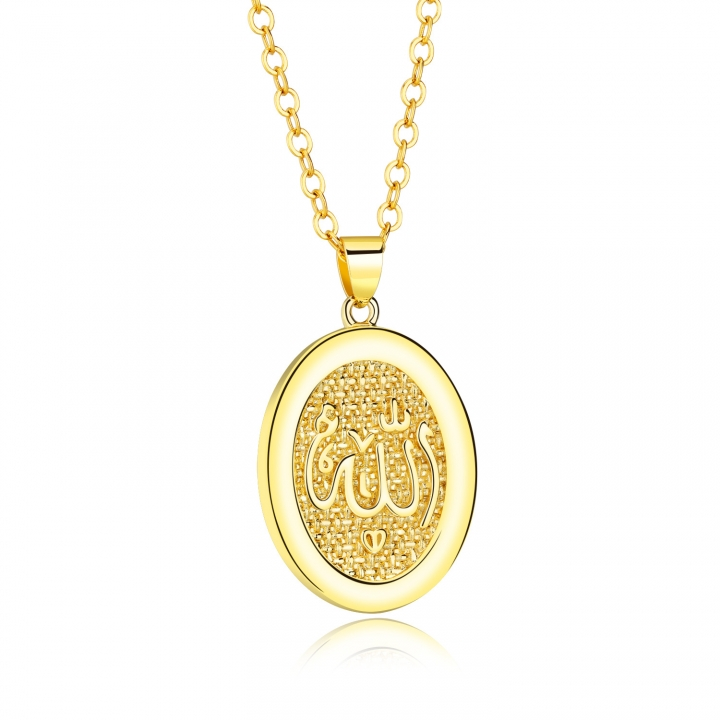Lslam Muslim Religion Retro Oval Temperament Necklace Allah Pendant Accessories gold one size