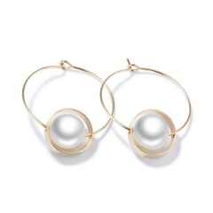 Simple Fashion Pearl Simple Geometric Circle Earrings Ms Exquisite Elegant Earring gold one size