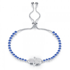 New Product trend Accessories Bracelet gift Exquisite Copper Plated Platinum Wristband blue one size