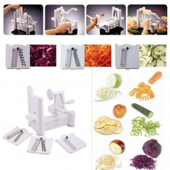 3 In 1  Spiral Vegetable Slicer Cutter Vegetable Spiralizer Grater For Carrot Cucumber Tools white one size