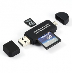 3 In 1 OTG Card Reader High-speed USB2.0 Universal OTG TF/SD for Android Computer Extension Headers black micro sd one size one size