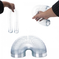 Slinky Metal Power Spring Rainbow Circle Classic Novelty Toys New In Box Gift for Children Kids silver one size