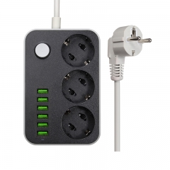 Power Strip 6 USB 3 Universal Socket With Overload Protector Circuit Breaker Switch Outlet Extend