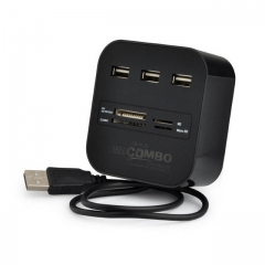 USB Hub 2.0 3 Ports + TF SD Card Reader Slot High Speed USB Combo Splitter for Laptop Desktop Use black