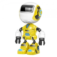 Robot toy Early Education Voice Illuminate Alloy induction Mini intelligent Robot yellow one size