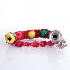 New Portable Metal Bracelet Smoke Smoking Pipe Jamaica Rasta Weed Pipe 3 Colors Gift red one size