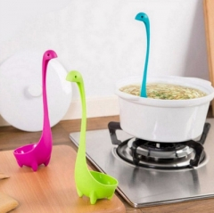 Creative Water monster Soup spoon kitchen Long handle Vertical Big porridge spoon tableware Spoon random color one size