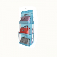 Dustproof Storage Bag Six-layer Double-sided Multi-functional HandBag Storage Hanging Bag blue one size