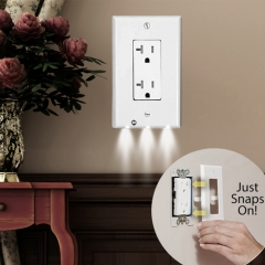 Plug Cover LED Night Light Angel Wall Outlet Face Hallway Bedroom Bathroom Safety Light white one size 1w