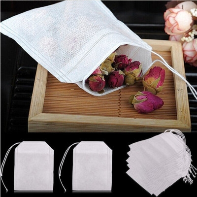 100Pcs Teabags Empty Scented Tea Bags With String Heal Seal Filter Paper for Herb Loose Tea white one size