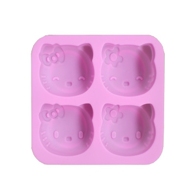 4 company expression Cake mold Cat head Chocolate mold kitchen Baking Silica gel Mold pink one size