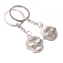 Grandparents Old man Couple Keychain Love ratio Jin Jian key Hang buckle silver one size