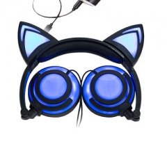 child Cartoon Cat ears Charging Head-mounted Illuminate Foldable Mobile phone headset blue