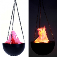 Hanging Flame Light Electronic Brazier LED Candle Simulation Flame Halloween Party Decoration Light black one size one size