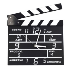 Creative Wooden Movie Clapper Clock Stylish Personality Electronic Silent Wooden Clock