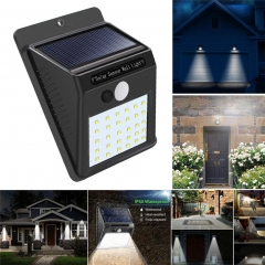 solar light Three functions mode led human body Induction lamp garden Fence Street light black one size 20LED