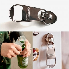 Creative Magnetic Beer Bottle Opener Zipper Style Refrigerator Magnet Wine Bar Diagnostic-tool silver one size