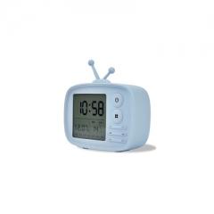 Retro sound TV set Alarm clock USB Charging Alarm clock calendar temperature display blue one size