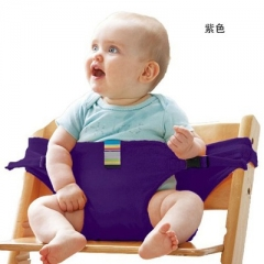 Portable Seat Dining Lunch Chair Seat Safety Belt Stretch Wrap Feeding Chair purple one size