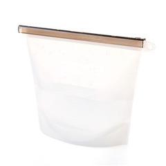 Food Sealing Storage Bag Home Food Grade Silicone Fruit Meat Ziplock Kitchen Organizer white