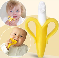 Molar Stick Toothbrush Safe Baby Silicone Teether Teething Ring Kids Teether Children Chewing yellow one size