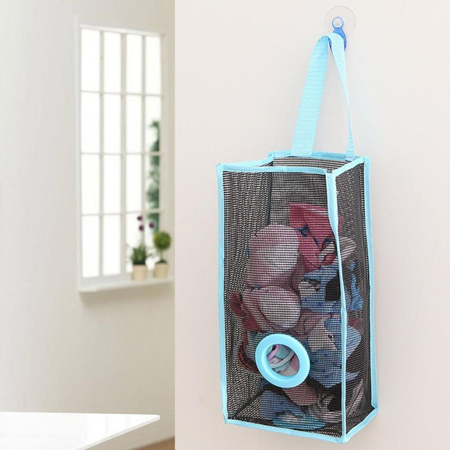 Creative Rubbish Storage bag Storage bags  plastic Shopping Bag Extract Mesh bag blue s