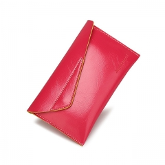 DoubleBetter Oil Wax Top PU Leather Checkout Wallets for Women Rose 19.5cm-12cm