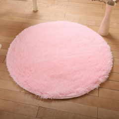 DoubleBetter Indoor Circle Design Modern Area Rugs Fluffy Living Room Carpets Suitable for Home Pink 80cm-80cm-4.5cm