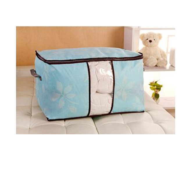 DoubleBetter Two Pieces Clothing Blanket Pillow Box Holder Container Organizer Blue