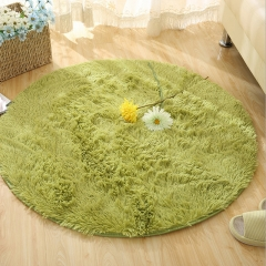 DoubleBetter Indoor Circle Design Modern Area Rugs Fluffy Living Room Carpets Suitable for Home Green 80cm-80cm-4.5cm
