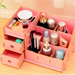DoubleBetter DIY Wooden Desktop Cosmetics Storage Box for Love Tidy and Beautiful Woman Pink