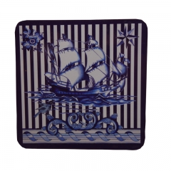 DoubleBetter Cork Coaster with Voyage Pattern, Set of 4 Blue 10cm-10cm