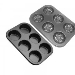 DoubleBetter Carbon Steel Two pieces kinds of cake molds Baking Pan - Circle /  Shells Baking Tray black 26cm-18cm-3cm