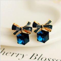 DoubleBetter bowknot design pierced earrings for girls and women blue 0.5cm-0.5cm-1cm