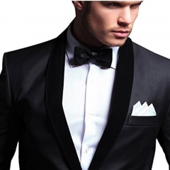 DoubleBetter Pre-Tied Satin Formal Tuxedo Bow tie Adjustable Length Satin Bow Tie black