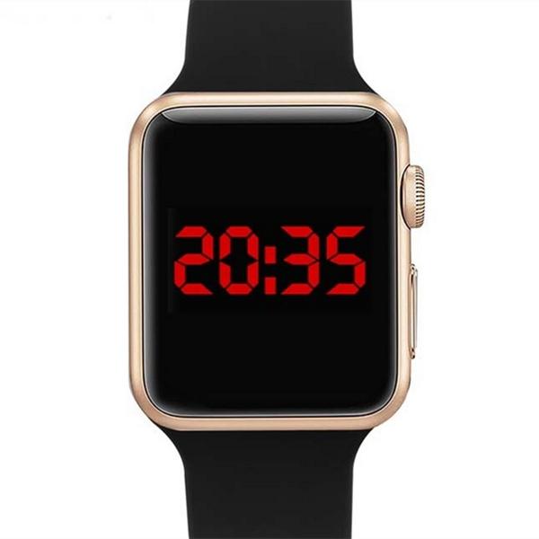 LED Digital Bracelet Watch Sport Strap Wristwatch for Men Women Gold+Black