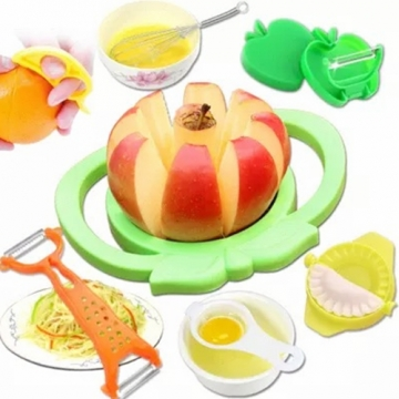 7pcs/A set Multifunctional Convenient Fruit Slicer egg Beater Set Cooking Tools Multicolor one size