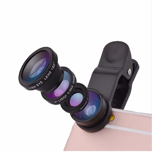 3 in 1 Wide Angle Macro Fisheye Lens Kit with Clip 0.67x Mobile Phone Fish Eye Lens Lentes black