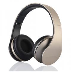 Digital 4in1 Stereo Wireless Bluetooth+EDR Headphone Headset Earphone with Mic MicroSD/TF FM Radi gold+black